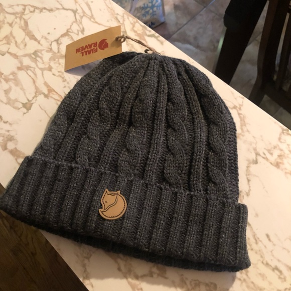 9d96a5421ae46 Fjallraven Accessories | Nwt Braided Charcoal Beanie Knit | Poshmark